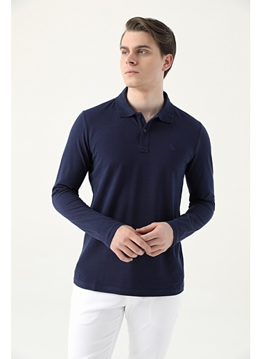 D'S Damat Regular Fit Pike Dokulu T-Shirt Lacivert